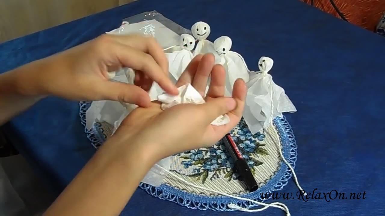 1-Гирлянда из привидений декорации на Хэллоуин пошагово