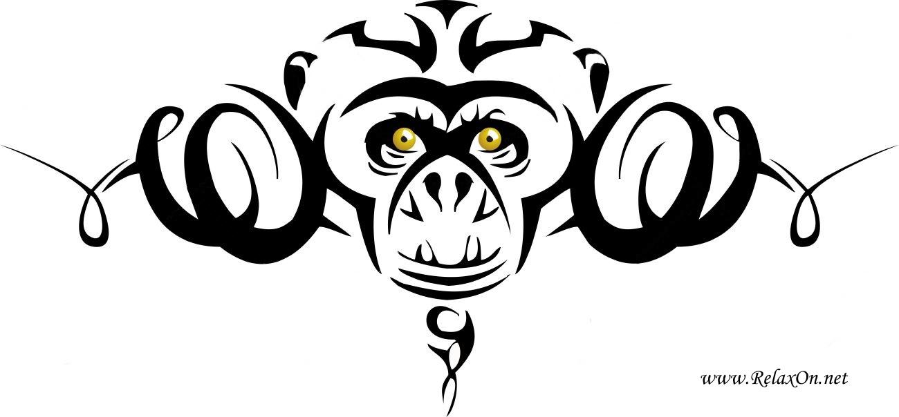 1-Трафарет обезьяны
