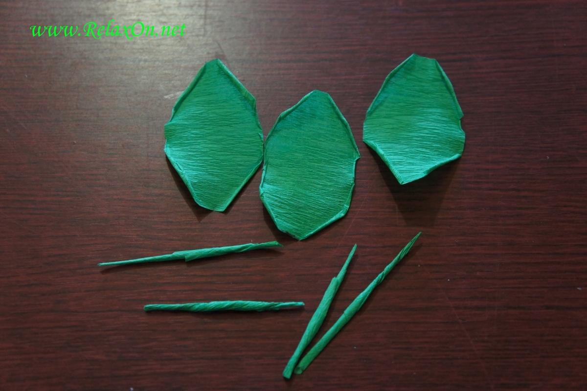 Шипы и листья для бумажной розы
