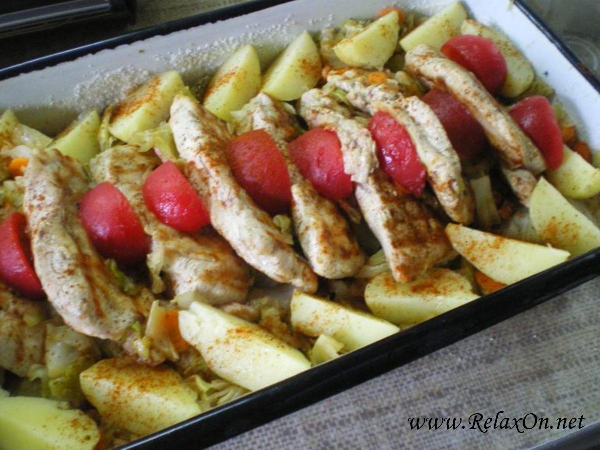 стейк из индейки в духовке с картошкой