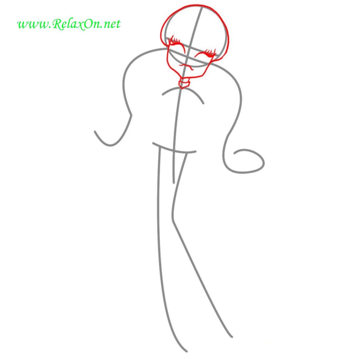 Как нарисовать Дракулауру шаг 2