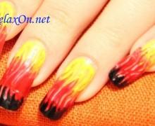 Новый дизайн ногтей маникюр огонь