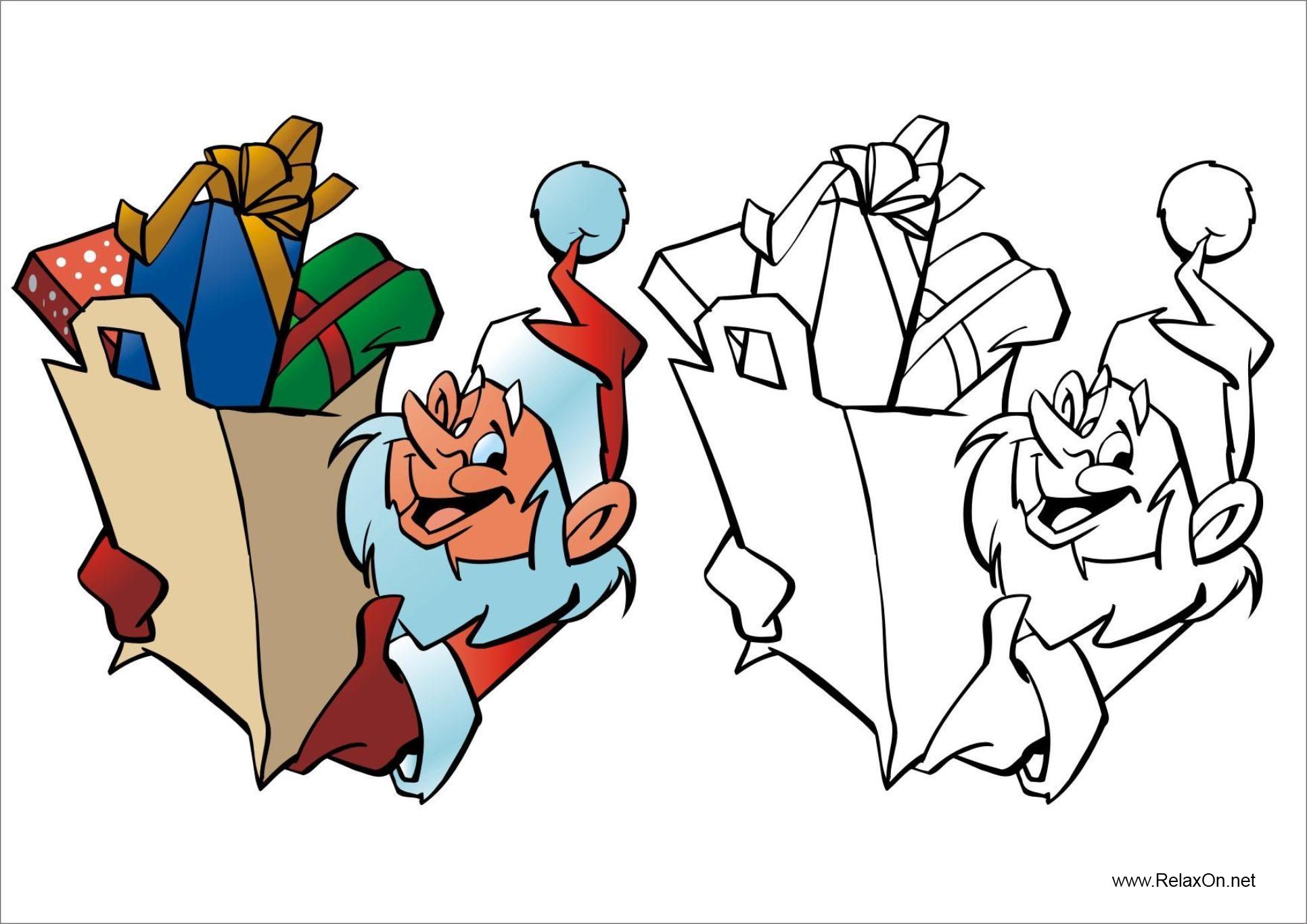 Раскраска эльф с подарками