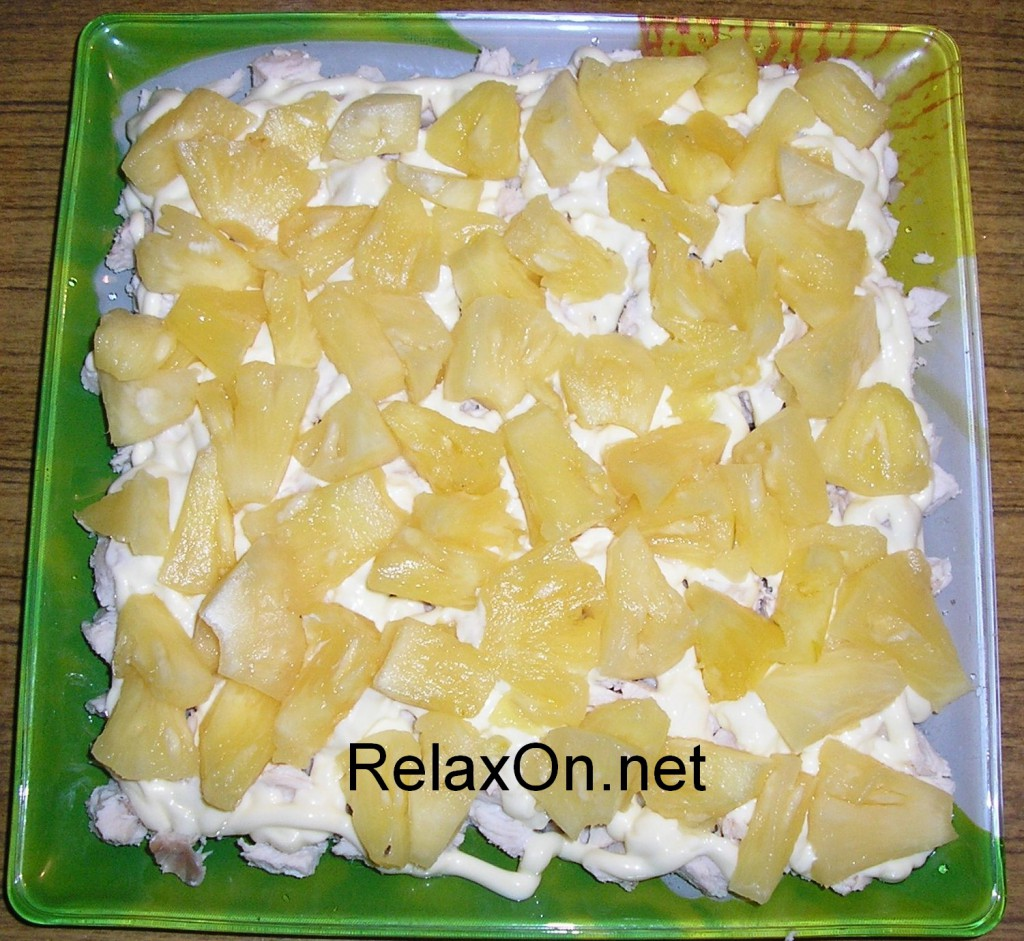 Салат курица с ананасом слоями пошаговый рецепт