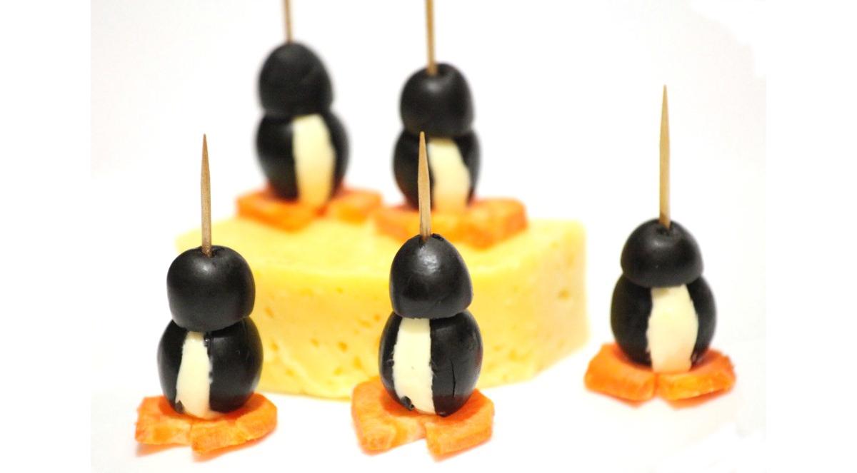 канапе пингвин на сыре