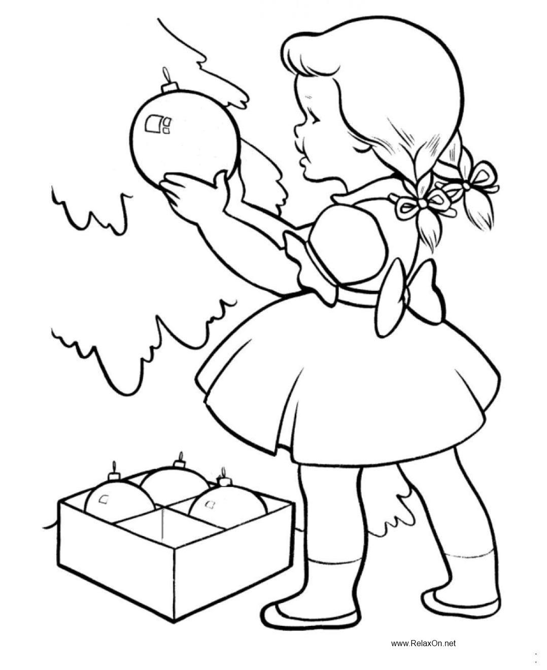 раскраска девочка украшает елку